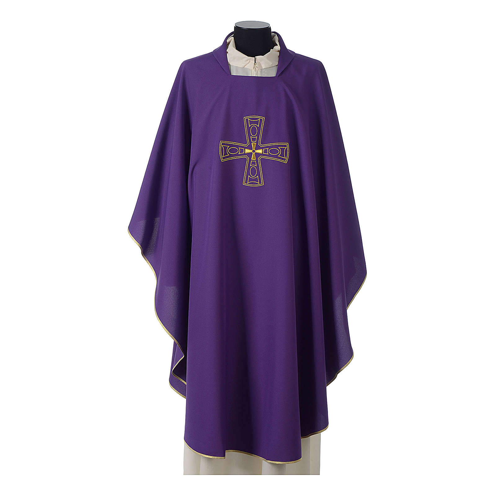 Catholic Priest Chasuble with embroidered gold cross 4