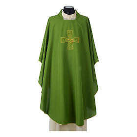 Catholic Priest Chasuble with embroidered gold cross s3