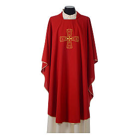 Catholic Priest Chasuble with embroidered gold cross s4