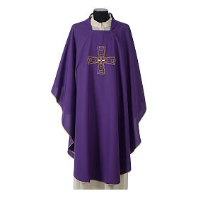 Catholic Priest Chasuble with embroidered gold cross s6