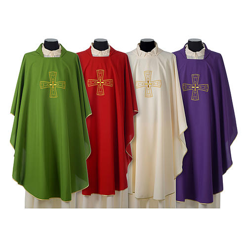 Catholic Priest Chasuble with embroidered gold cross 1