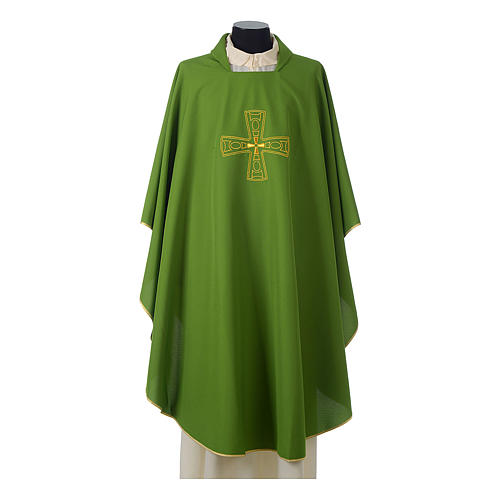 Catholic Priest Chasuble with embroidered gold cross 3