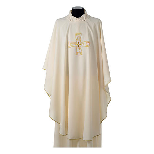 Catholic Priest Chasuble with embroidered gold cross 5