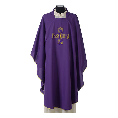 Catholic Priest Chasuble with embroidered gold cross 6