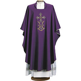 Liturgical chasuble with cross in 4 colours s1