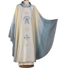 Chasuble Mariale blanche, bleue et or s1