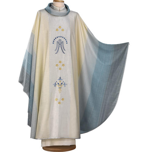 Chasuble Mariale blanche, bleue et or 1