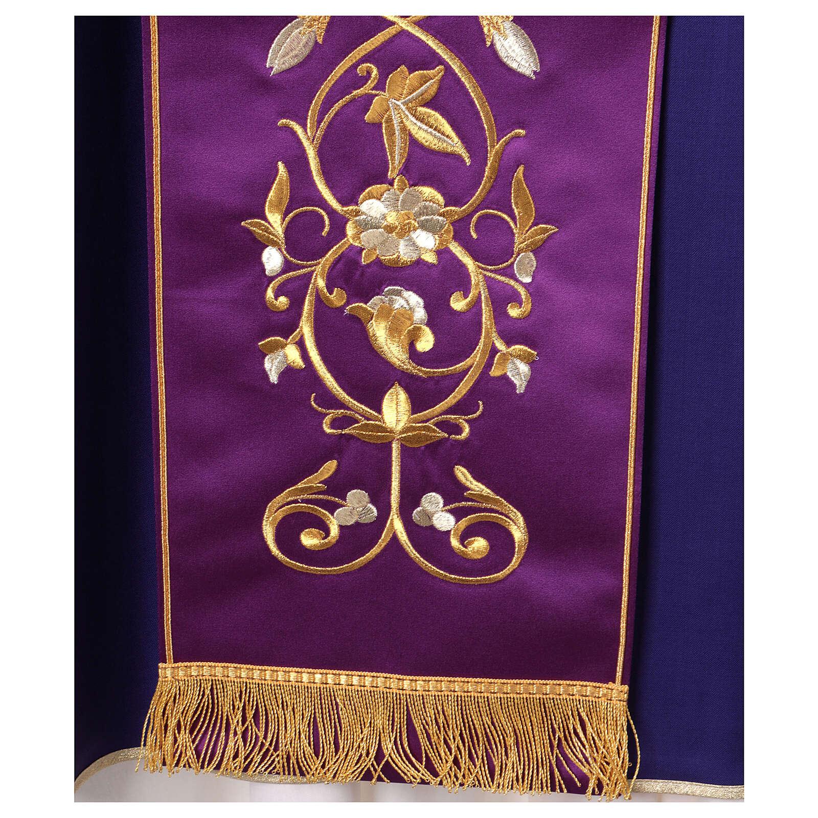 Casula con stolone pura lana decoro oro 4