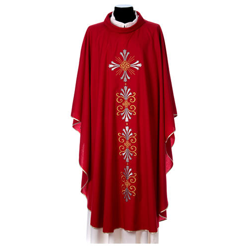 Chasuble pure laine avec croix et lis 1