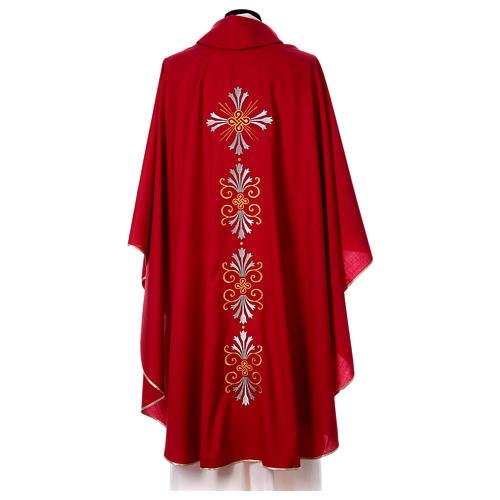 Chasuble pure laine avec croix et lis 5
