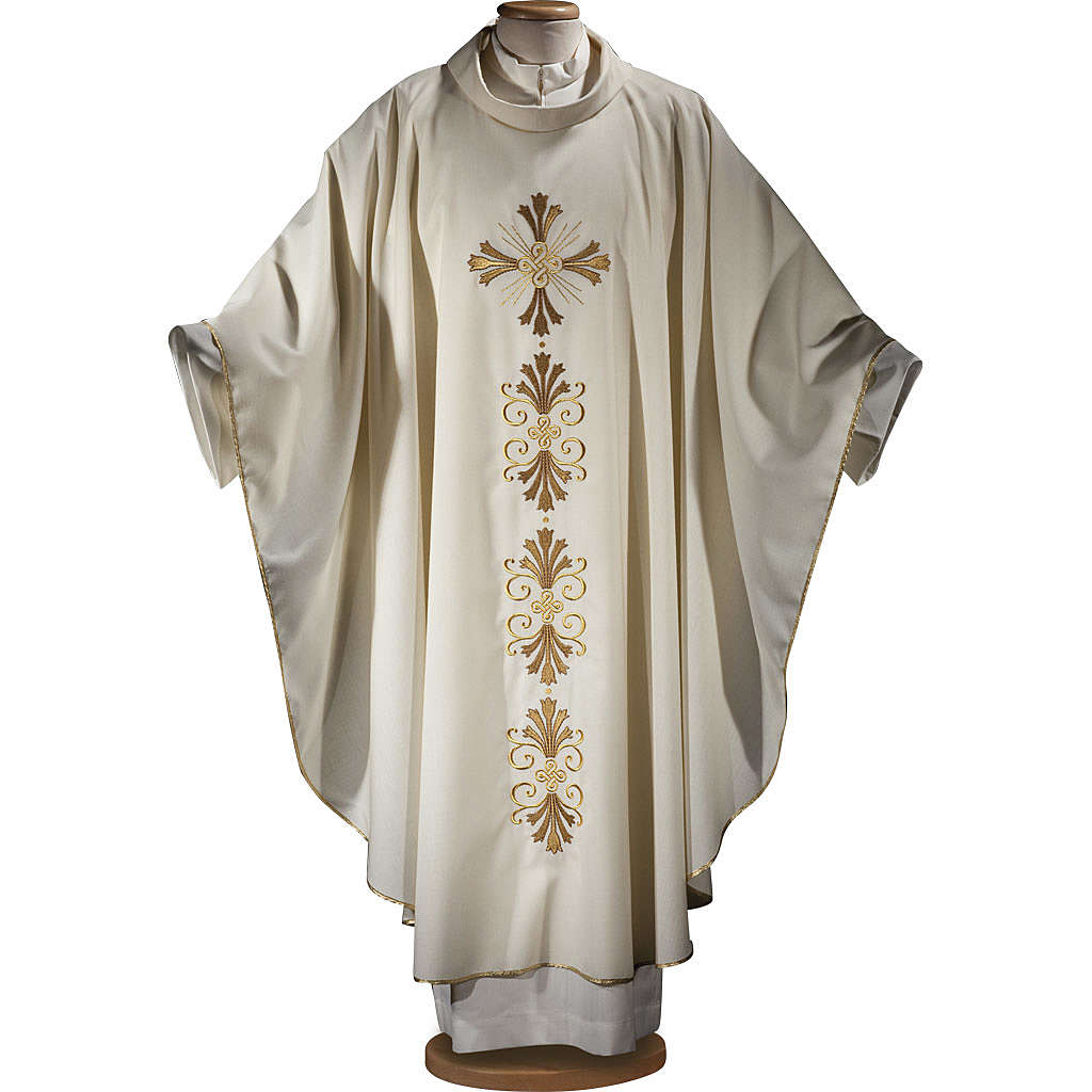 Chasuble in pure wool, cross and lily  4