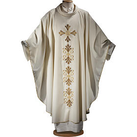 Chasuble in pure wool, cross and lily  s1