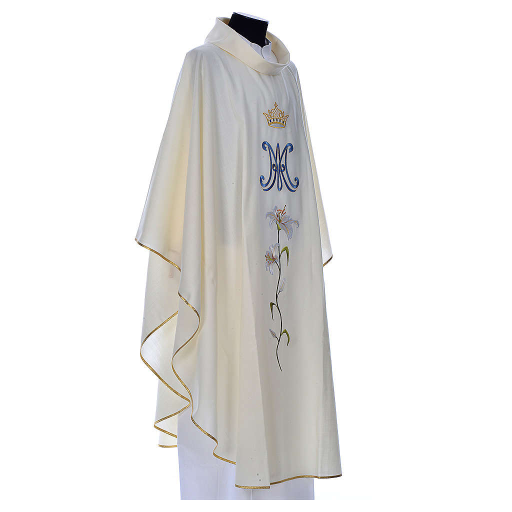Marian chasuble in pure wool 4