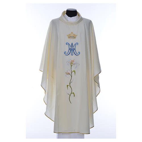 Marian chasuble in pure wool 8