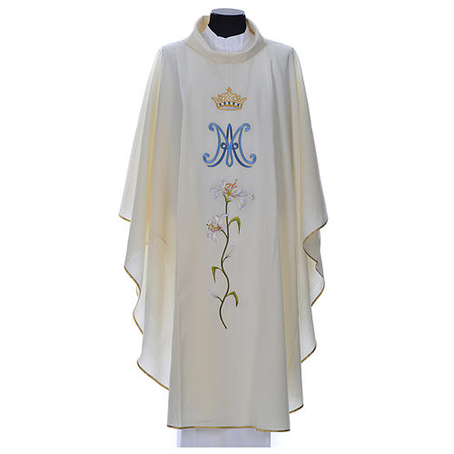 Marian chasuble in pure wool 1