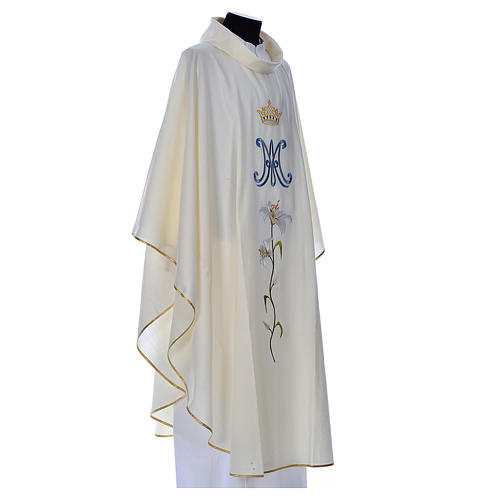 Marian chasuble in pure wool 2