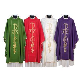 Chasubles: Chasuble in 80% polyester 20% wool, Chi-Rho, Alpha Omega embroid