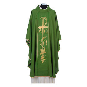 Chasuble in 80% polyester 20% wool, Chi-Rho, Alpha Omega embroid s3