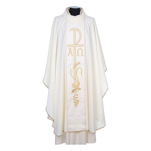 Chasuble in 80% polyester 20% wool, Chi-Rho, Alpha Omega embroid 5