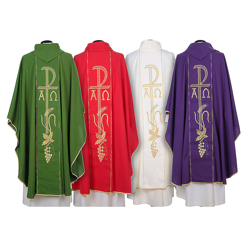 Chasuble in 80% polyester 20% wool, Chi-Rho, Alpha Omega embroid 4