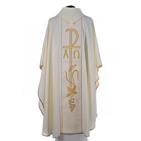 Chasuble in 80% polyester 20% wool, Chi-Rho, Alpha Omega embroid s5