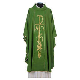 Chasuble in 80% polyester 20% wool, Chi-Rho, Alpha Omega embroid s6