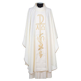 Chasuble in 80% polyester 20% wool, Chi-Rho, Alpha Omega embroid s8