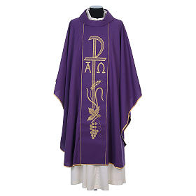 Chasuble in 80% polyester 20% wool, Chi-Rho, Alpha Omega embroid s9