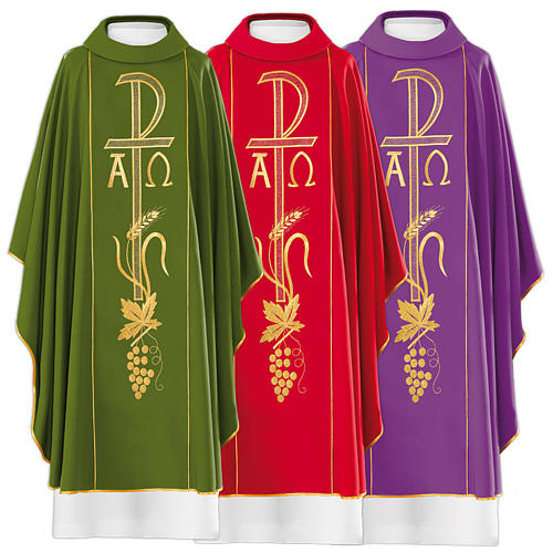 Chasuble in 80% polyester 20% wool, Chi-Rho, Alpha Omega embroid 1