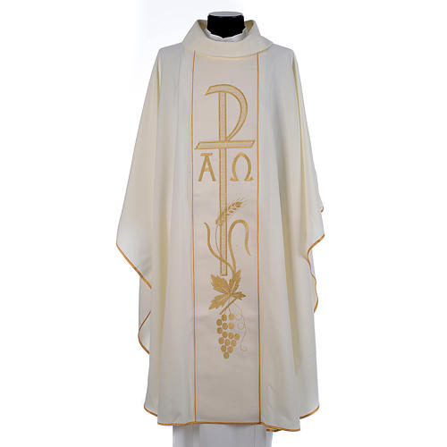 Chasuble in 80% polyester 20% wool, Chi-Rho, Alpha Omega embroid 3