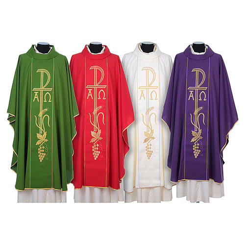 Chasuble in 80% polyester 20% wool, Chi-Rho, Alpha Omega embroid 2