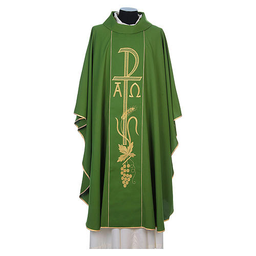 Chasuble in 80% polyester 20% wool, Chi-Rho, Alpha Omega embroid 6