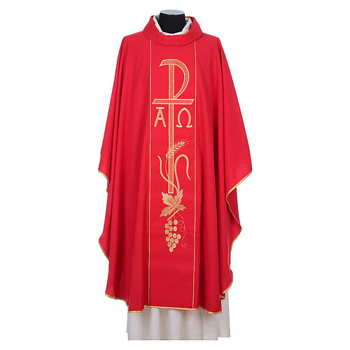 Chasuble in 80% polyester 20% wool, Chi-Rho, Alpha Omega embroid 7