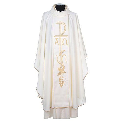 Chasuble in 80% polyester 20% wool, Chi-Rho, Alpha Omega embroid 8