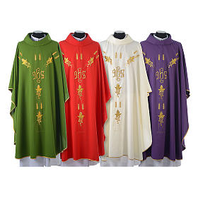 Chasuble in 80% polyester 20% wool, IHS, grapes and wheat embroi s1
