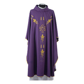 Chasuble in 80% polyester 20% wool, IHS, grapes and wheat embroi s6