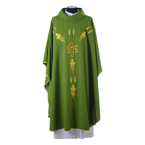 Chasuble in 80% polyester 20% wool, IHS, grapes and wheat embroi 3