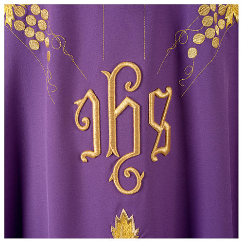 Chasuble in 80% polyester 20% wool, IHS, grapes and wheat embroi 7