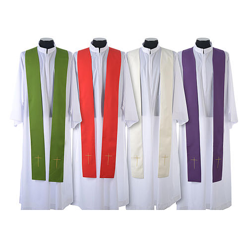 Chasuble in 80% polyester 20% wool, IHS, grapes and wheat embroi 9