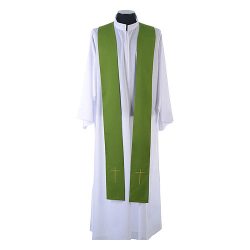 Chasuble in 80% polyester 20% wool, IHS, grapes and wheat embroi 10