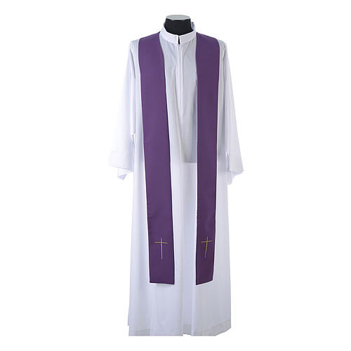 Chasuble in 80% polyester 20% wool, IHS, grapes and wheat embroi 13