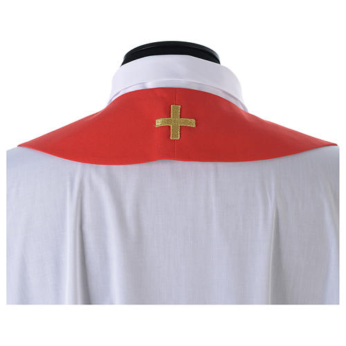 Chasuble in 80% polyester 20% wool, IHS, grapes and wheat embroi 14