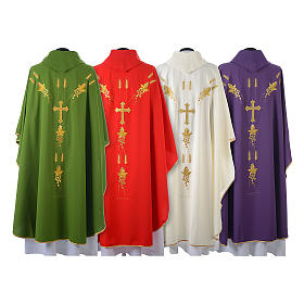 Monastic Chasuble in 80% polyester 20% wool, IHS, grapes and wheat embroidery s2
