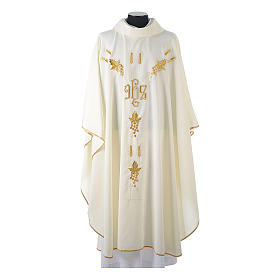 Monastic Chasuble in 80% polyester 20% wool, IHS, grapes and wheat embroidery s5