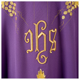 Monastic Chasuble in 80% polyester 20% wool, IHS, grapes and wheat embroidery s7