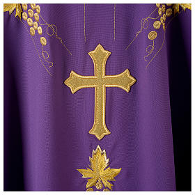 Monastic Chasuble in 80% polyester 20% wool, IHS, grapes and wheat embroidery s8