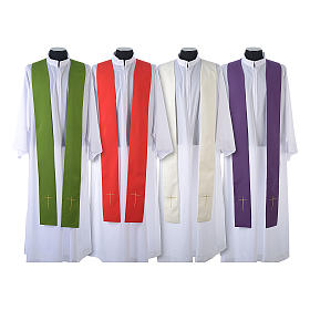 Monastic Chasuble in 80% polyester 20% wool, IHS, grapes and wheat embroidery s9