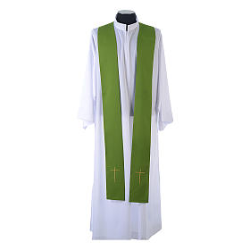 Monastic Chasuble in 80% polyester 20% wool, IHS, grapes and wheat embroidery s10
