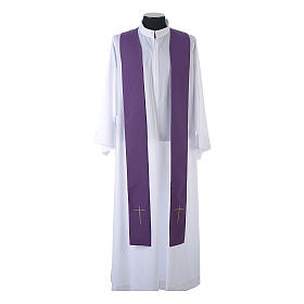 Monastic Chasuble in 80% polyester 20% wool, IHS, grapes and wheat embroidery s13