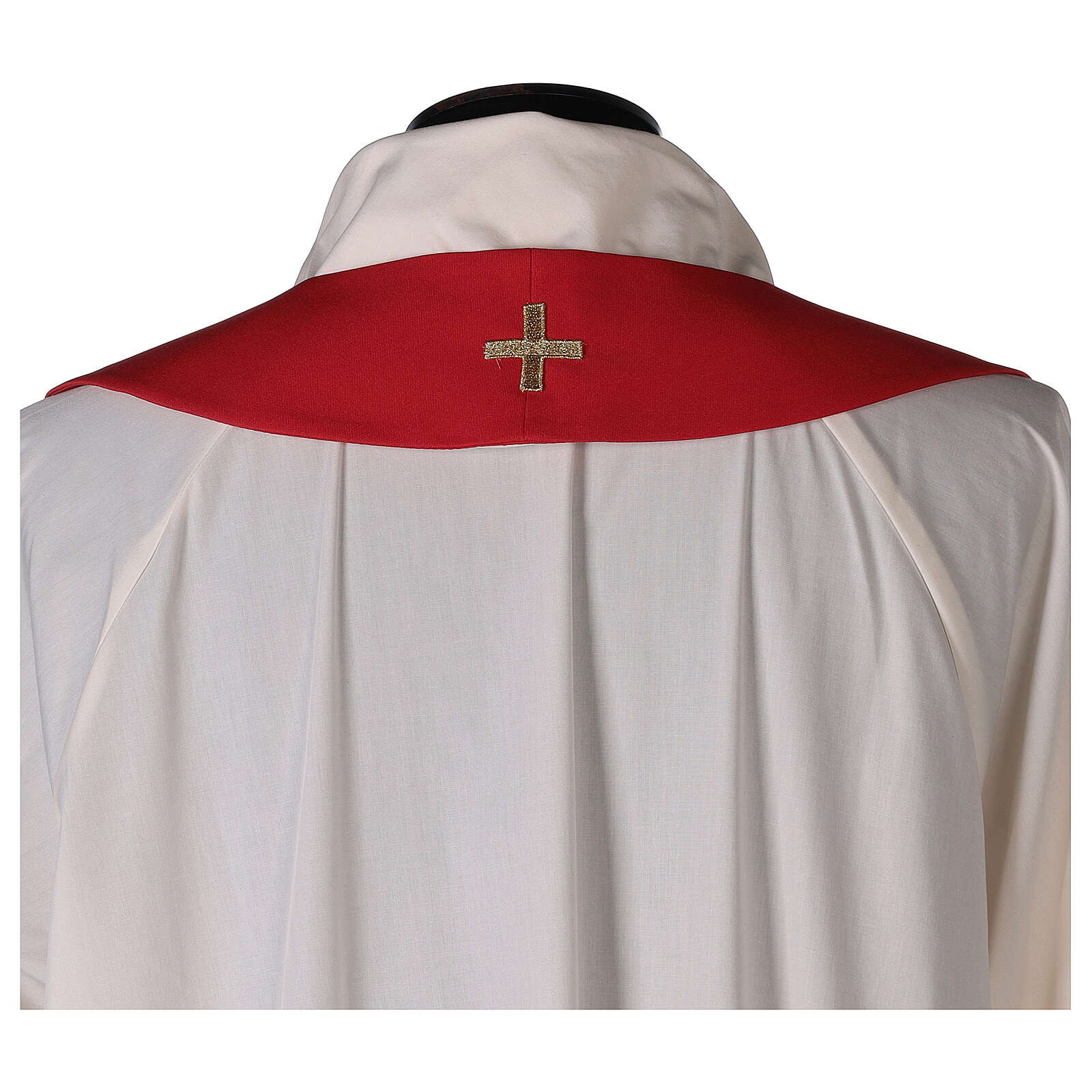 Monastic Chasuble with cross, rays and IHS embroidery in 80% polyester 20% wool 4